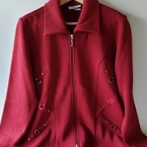 Mary Dee Fashion Burgundy Wool/Acrylic CoatSweater